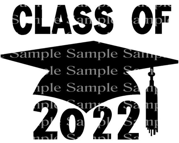 Class of 2022 Black Graduation Cap - 2D Fondant Edible Cake & Cupcake Topper For Birthdays and Parties! - D24269
