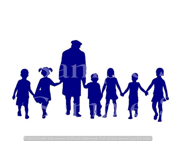 Blue Grandpa & Grand Kids Silhouette Birthday ~ Edible 2D Fondant Birthday Cake/Cupcake Topper ~ D24616