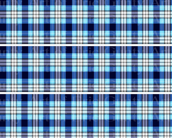 Blue Plaid Birthday - Side Strips ~ Edible 2D Fondant Birthday Cake Side Toppers ~ D22725