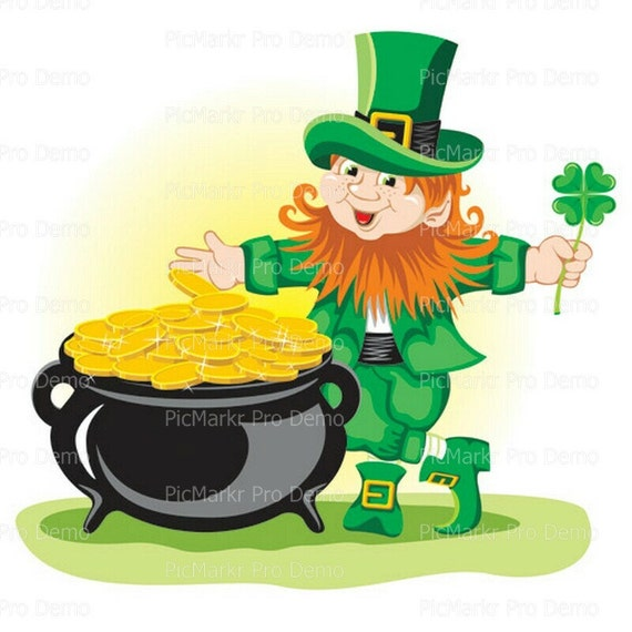 St. Patrick's Day Leprechaun and Pot of Gold - Edible Cake and Cupcake Topper For Birthday's and Parties! - D1135