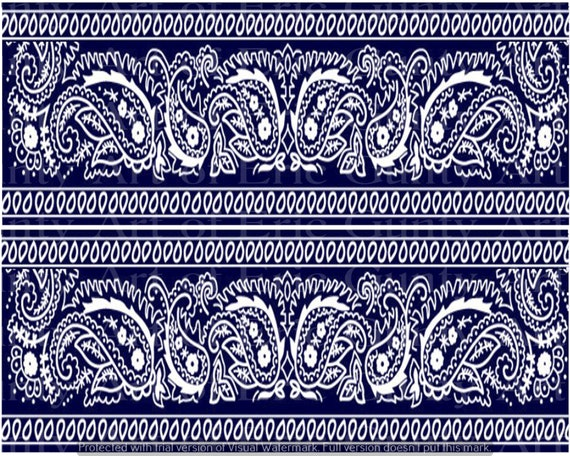 Blue Paisley Bandana Birthday - Edible Cake Side Toppers- Decorate The Sides of Your Cake! - D22123
