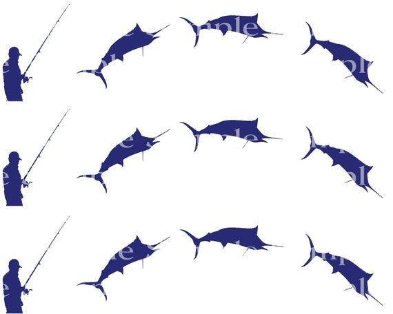 Marlin Sport Fishing - 2D Fondant Edible Cake Side Toppers - Decorate The Sides of Your Cake! - D24353