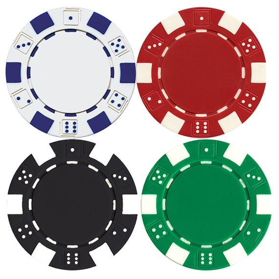 Casino 4 Poker Chips Birthday  - Edible Cake and Cupcake Topper For Birthday's and Parties! - D7331