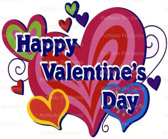 Happy Valentine's Day ~ Edible 2D Fondant Birthday Cake/Cupcake Topper ~ D2276