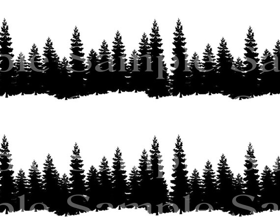 Wilderness Trees Birthday - Side Strips ~ Edible 2D Fondant Birthday Cake Side Toppers ~ D24489