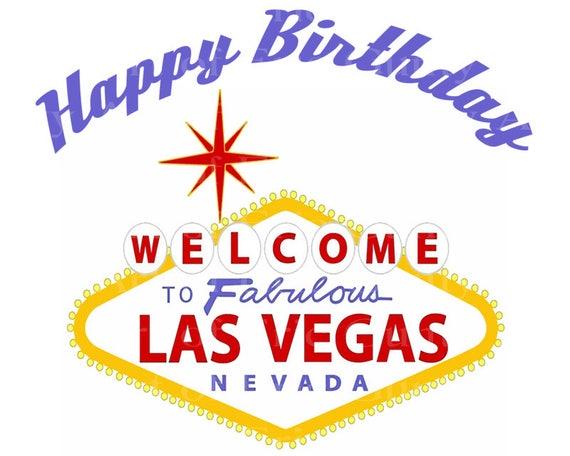 Las Vegas Sign Happy Birthday ~ Edible 2D Fondant Birthday Cake/Cupcake Topper ~ D22774