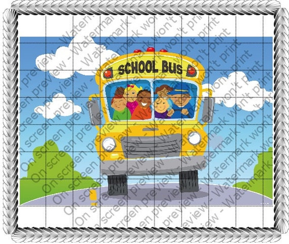 School Bus Birthday ~ Edible 2D Fondant Birthday Cake/Cupcake Topper ~ D20773