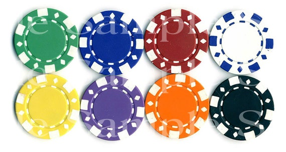 Las Vegas Casino Poker Chips Birthday ~ Edible 2D Fondant Birthday Cake/Cupcake Topper ~ D7336