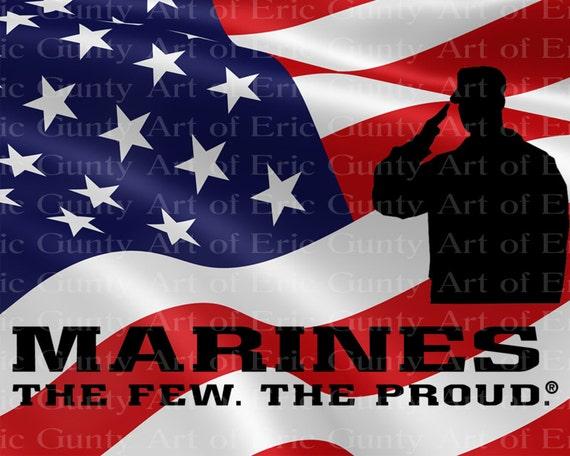 Marines American Flag Birthday ~ Edible 2D Fondant Birthday Cake/Cupcake Topper ~ D21917