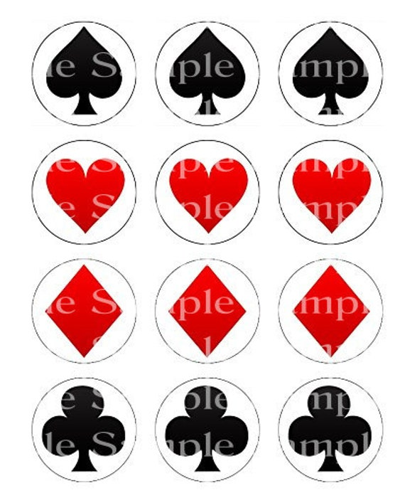 Poker Suits Las Vegas Casino Birthday - Edible Cake and Cupcake Topper For Birthdays and Parties! - D24224