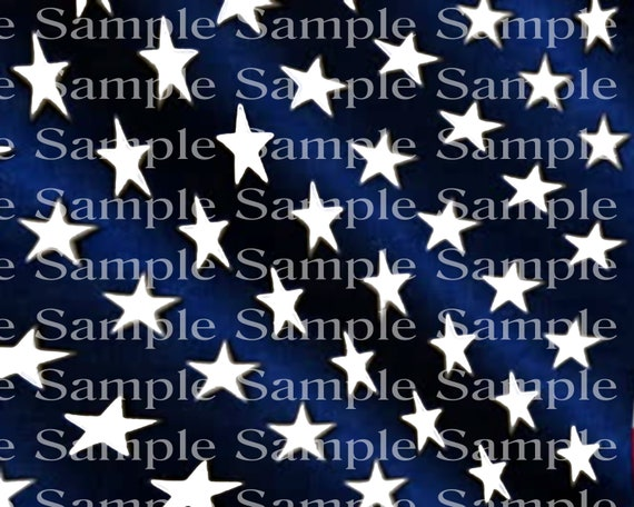 Blue and White United States Flag Stars Birthday - 2D Fondant Edible Cake & Cupcake Topper For Birthdays and Parties! - D24354