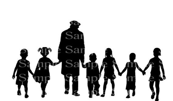 Grandpa With Grandkids Walking Silhouette Birthday - Edible Cake and Cupcake Topper For Birthdays and Parties! - D24167