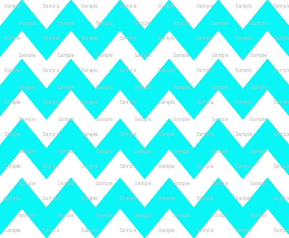 Cyan - Chevron Background Birthday - Edible Cake and Cupcake Topper For Birthday's and Parties! - D6337