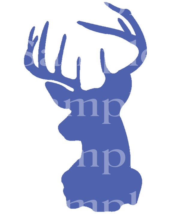 Blue Deer Head Hunting Birthday - Edible 2D Fondant Cake & Cupcake Topper For Birthdays and Parties! - D24466