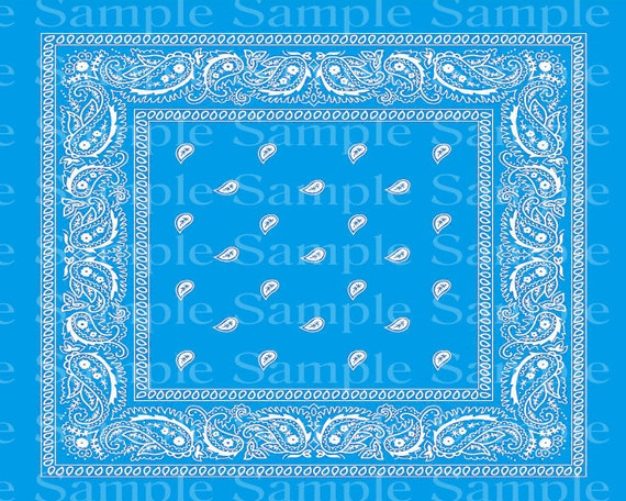 Light Blue Paisley Bandana Birthday - 2D Fondant Edible Cake and Cupcake Topper For Birthdays and Parties! - D24370