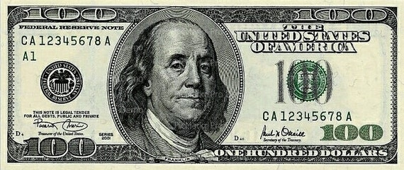 100 Dollar Bill - Edible Cake and Cupcake Topper For Birthday's and Parties! - D20004