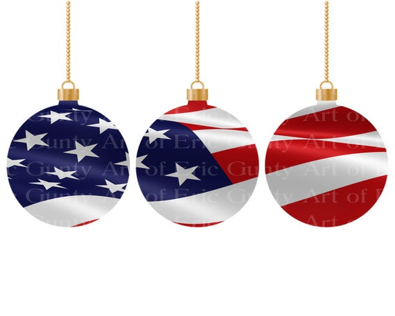 America Christmas Ornaments - Edible Cake and Cupcake Topper For Birthday's and Parties! - D22015