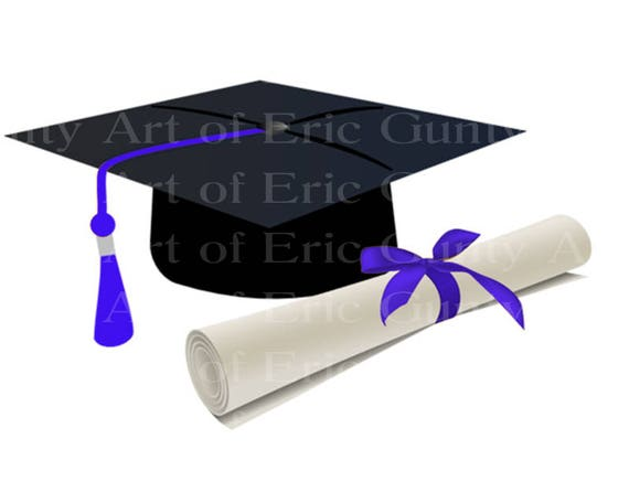 Blue Graduation Cap & Diploma - Edible Cake and Cupcake Topper For Birthday's and Parties! - D22881