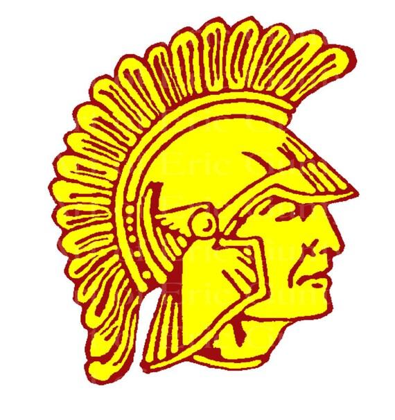 Yellow & Magenta Spartan Trojan Mascot ~ Edible 2D Fondant Birthday Cake/Cupcake Topper ~ D22483