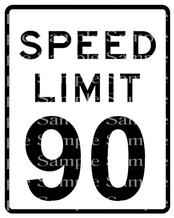 Speed Limit 90th Birthday Sign - 2D Fondant Edible Cake & Cupcake Topper For Birthdays and Parties! - D24337