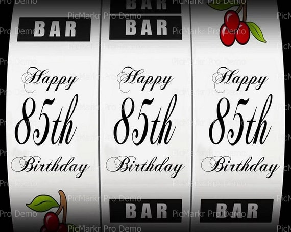 85th Birthday Casino Slot Machine - Edible Cake and Cupcake Topper For Birthday's and Parties! - D21875