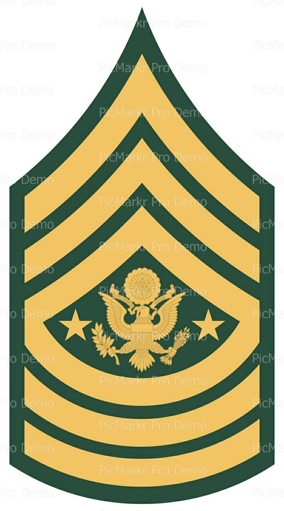 Army Sargent Major of the Army Military Insignia Birthday ~ Edible 2D Fondant Birthday Cake/Cupcake Topper ~ D20502