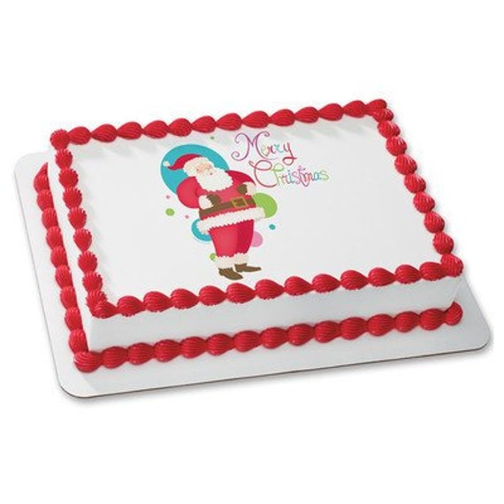 Santa Claus Christmas Birthday - Edible Cake and Cupcake Topper For Birthday's and Parties! - D24082