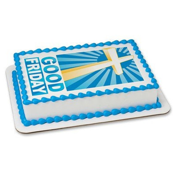 Good Friday Cross Religious Birthday - Edible Cake and Cupcake Topper For Birthday's and Parties! - D24072