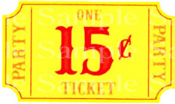 Carnival Ticket Birthday ~ Edible 2D Fondant Birthday Cake/Cupcake Topper ~ D24521