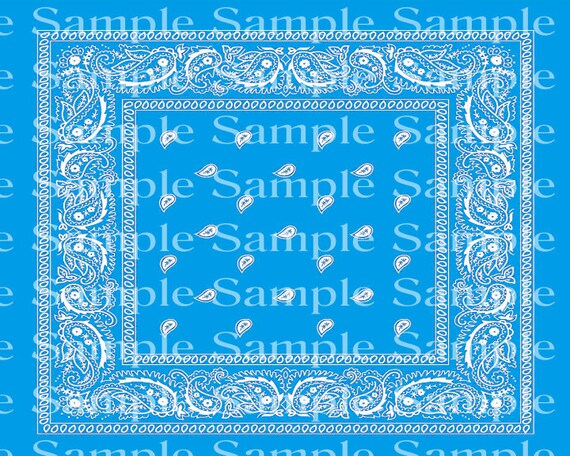Light Blue Paisley Birthday - 2D Fondant Edible Cake & Cupcake Topper For Birthdays and Parties! - D24350