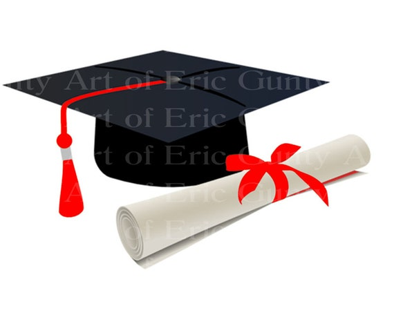 Black Graduation Cap With Red Tassel Diploma Birthday ~ Edible 2D Fondant Birthday Cake/Cupcake Topper ~ D24048