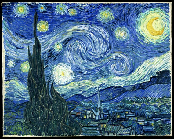 Vincent Van Gogh Starry Night  Birthday - Edible Cake and Cupcake Topper For Birthday's and Parties! - D443