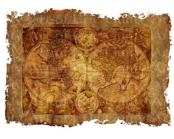 Old World Pirate Map Birthday ~ Edible 2D Fondant Birthday Cake/Cupcake Topper ~ D22914