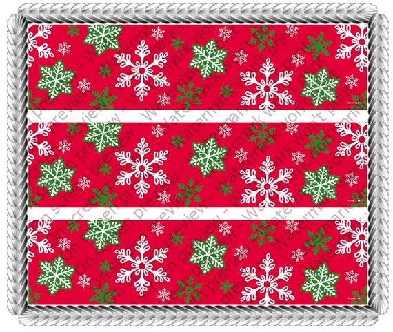 Christmas Snowflakes Birthday Designer Strips - Edible Cake Side Toppers- Decorate The Sides of Your Cake! - D-518