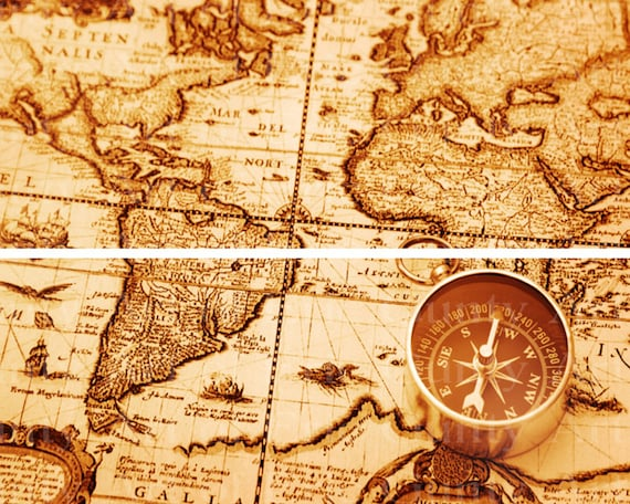 """Old World Map 4"""" Tall - Birthday Background - Side Strips ~ Edible 2D Fondant Birthday Cake Side Toppers ~ D22409"""
