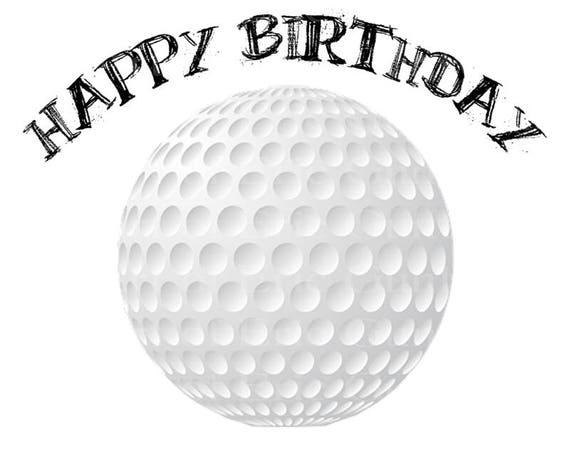 Golf Ball Happy Birthday ~ Edible 2D Fondant Birthday Cake/Cupcake Topper ~ D22752