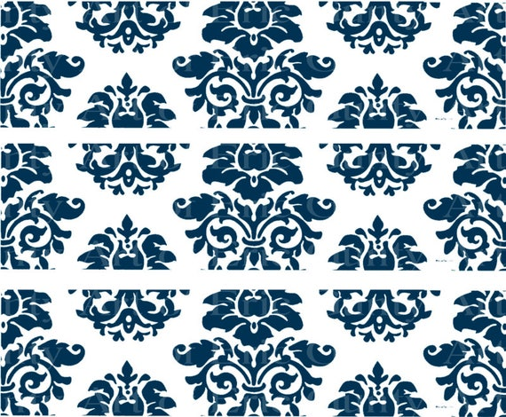 Navy Blue Damask Birthday - Edible Cake Side Toppers- Decorate The Sides of Your Cake! - D22848