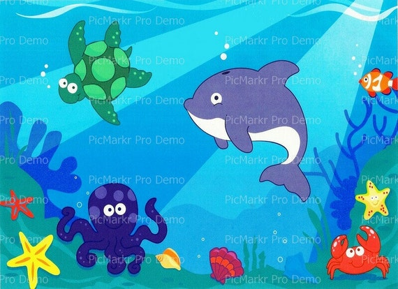 Ocean Background Child's Birthday - Edible Cake and Cupcake Topper For Birthday's and Parties! - D1151