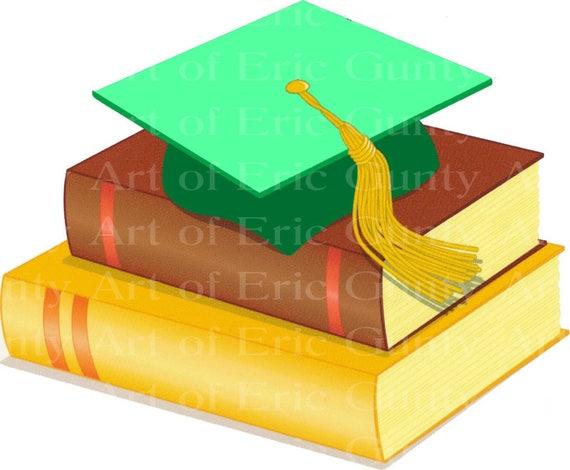 Green Graduation Cap & Books - Background Birthday ~ Edible 2D Fondant Birthday Cake/Cupcake Topper ~ D22491