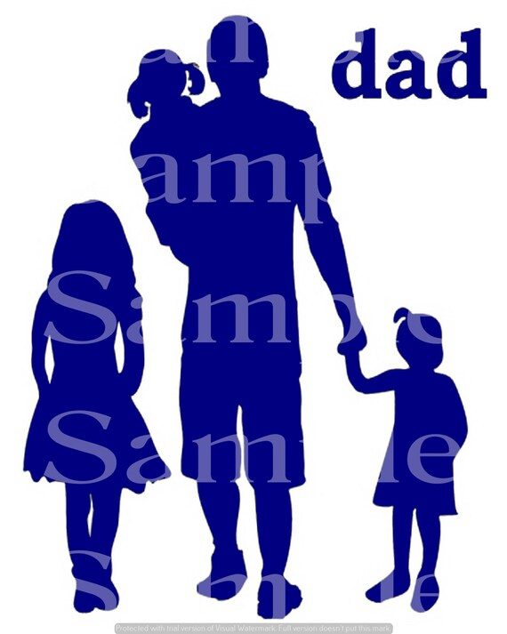 Blue Dad & Kids Silhouette Birthday ~ Edible 2D Fondant Birthday Cake/Cupcake Topper ~ D24609