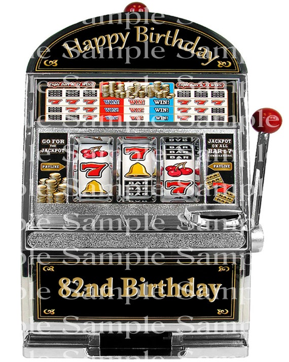 82nd Birthday Slot Machine Casino Background - 2D Edible Cake/Cupcake Topper For Birthdays and Parties! - D24311