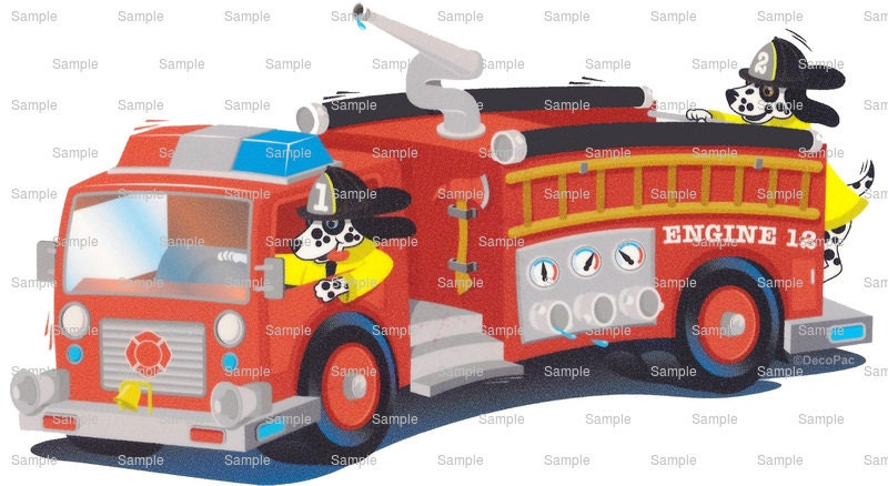 Red Fire Truck Birthday ~ Edible 2D Fondant Birthday Cake ...