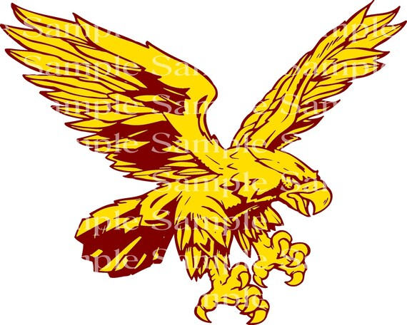 Yellow and Maroon Eagle Mascot Birthday - Edible 2D Fondant Cake & Cupcake Topper For Birthdays and Parties! - D24326