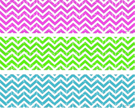 Colorful Chevron Birthday - Edible Cake Side Toppers - Decorate The Sides of Your Cake! - D24177