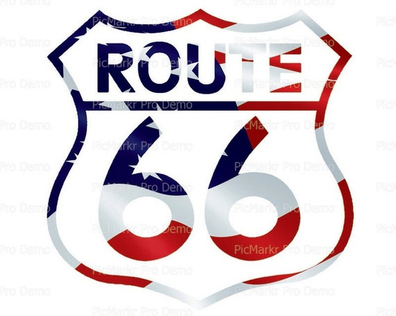 Route 66 American Flag Birthday - Edible Cake and Cupcake Topper For Birthday's and Parties! - D21737