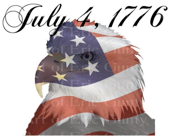 Patriotic Bald Eagle 4th of July Birthday ~ Edible 2D Fondant Birthday Cake/Cupcake Topper ~ D22997