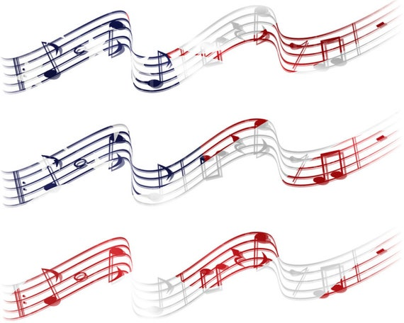 Patriotic Musical Notes Band Birthday - Edible Cake Side Toppers- Decorate The Sides of Your Cake! - D22866