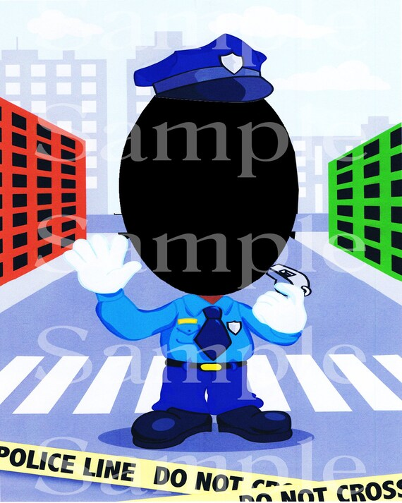 Police Birthday ~ Edible 2D Fondant Birthday Photo Frame Cake Cupcake Topper ~ D4726