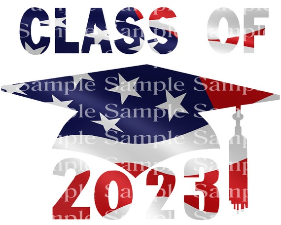 Class of 2023 Patriotic Graduation Cap - 2D Fondant Edible Cake & Cupcake Topper For Birthdays and Parties! - D24282