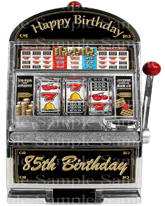 85th Birthday Casino Slot Machine - 2D Fondant Edible Cake and Cupcake Topper For Birthdays and Parties! - D24373